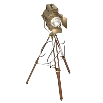 Studio spotlight floor lamp  wooden tripod. 3D graphic object on white background isolated