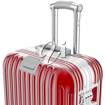 Red luggage, zoomed view. 3D graphic object on white background
