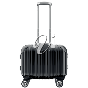 Black luggage on wheels, front view. 3D graphic object isolated on white background