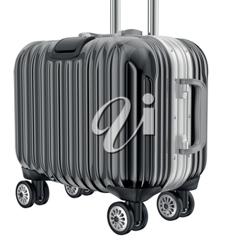 Black metal luggage for travel, zoomed view. 3D graphic object on white background