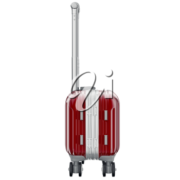 Luggage on wheels red, side view. 3D graphic object isolated on white background