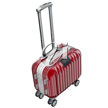 luggage with long handle. 3D graphic object isolated on white background