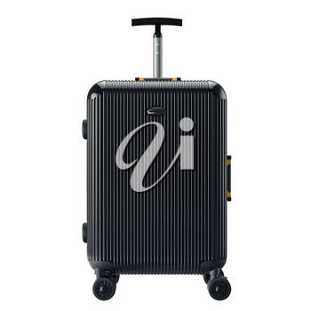 Black luggage for travel, front view. 3D graphic object isolated on white background