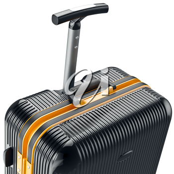 Luggage on wheels, zoomed view. 3D graphic object on white background