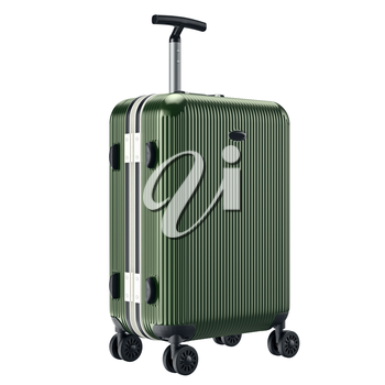 Big green luggage. 3D graphic object isolated on white background