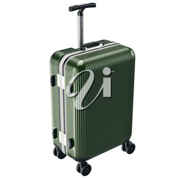 Green luggage on wheels. 3D graphic object isolated on white background
