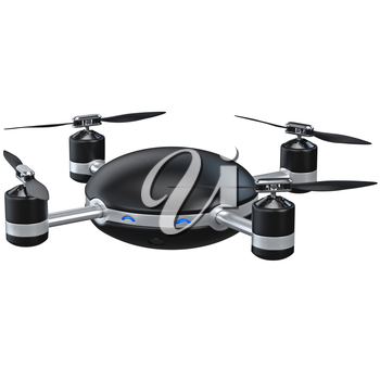 Black automatic drone. 3D graphic object isolated on white background