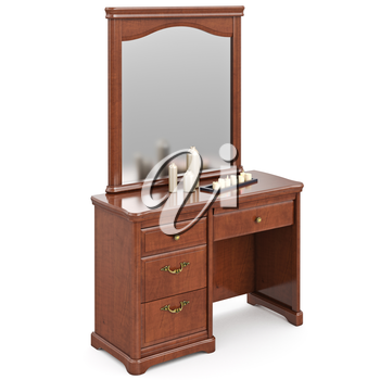 Dresser wooden modern with mirror. 3D graphic isolated object on white background