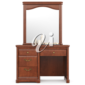 Dresser with mirror, front view. 3D graphic isolated object on white background
