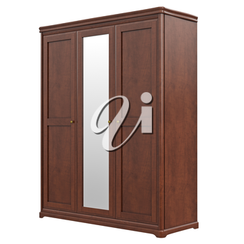 Cabinet wardrobe classic style. 3D graphic isolated object on white background