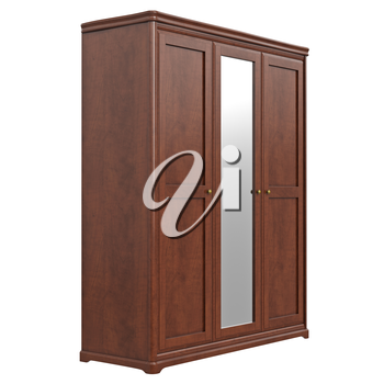 Wardrobe with mirror. 3D graphic isolated object on white background