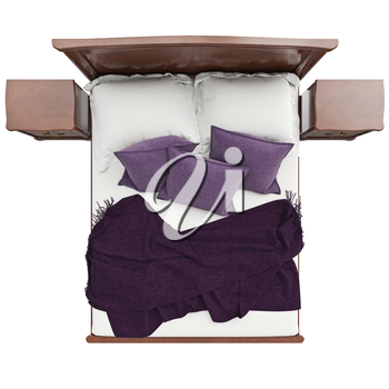 Bed with pillows and blanket cover, top view. 3D graphic isolated object on white background