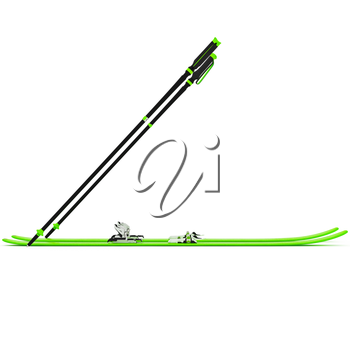 Sports skiing green ski poles, side view. 3D graphic isolated object on white background