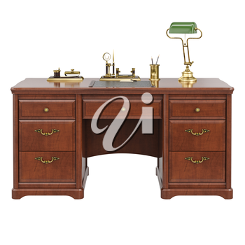 Wooden desk classic style. 3D graphic isolated object on white background