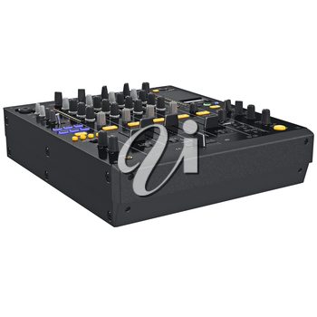 Black dj mixer with view of front control panel. 3D graphic
