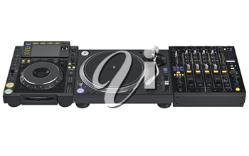 Set professional dj digital table mixer, music instrument  digital equipment. 3D graphic