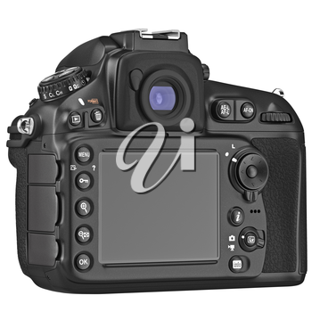 Black DSLR camera with large LCD display. 3D graphic