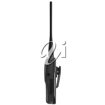 Portable mobile radio device with antenna, side view. 3D graphic