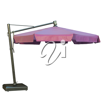 Purple beach umbrella, sun protection. 3D graphic
