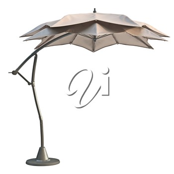 Patio beach umbrella, sun protection, side view. 3D graphic
