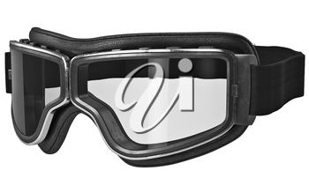Classic retro goggles in vintage style with black strap. 3D graphic