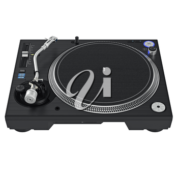 Dj black turntable mixer equipment with chrome elements. 3D graphic