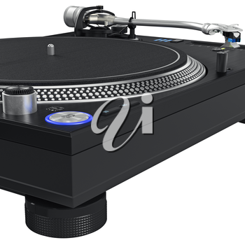 Dj vinyl needle turntable with chrome elements. 3D graphic, close view. 3D graphic