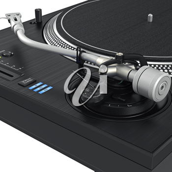 Turntable dj vinyl mixer equipment with chrome elements. 3D graphic
