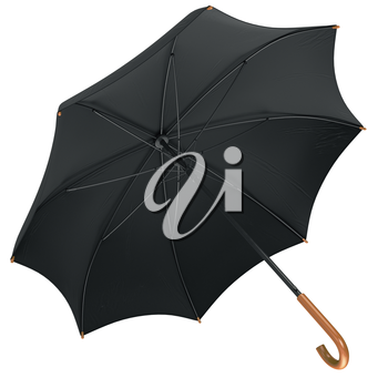 Black classic umbrella open with wooden handle. 3D graphic
