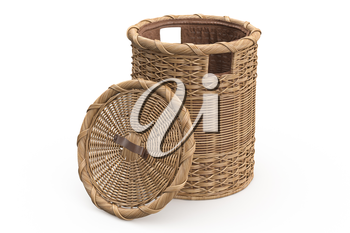 Empty wicker basket decorative on white background. 3D graphic