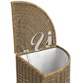 Closeup empty wicker basket on white background. 3D graphic