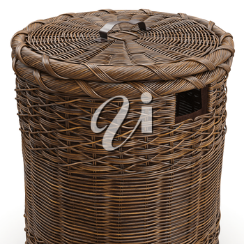 Empty wicker basket on white background, close view. 3D graphic