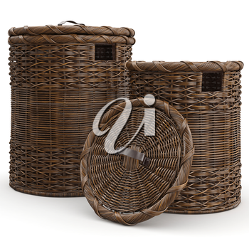 Empty wicker baskets on white background. 3D graphic