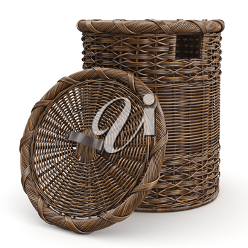 Empty wicker big basket on white background, back view. 3D graphic