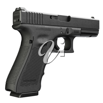 Gun metallic police, military, black on white background isolated. 3D graphic