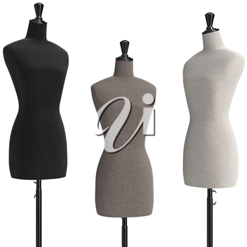 Female mannequins three with stand retro style. 3D graphic