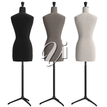 Female mannequins with stand retro style, back view. 3D graphic