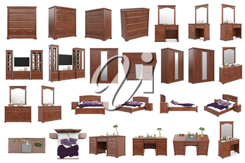 Set classic wooden furniture, collection. 3D graphic