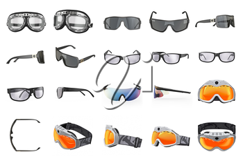Set glasses goggles eyeglass, collection. 3D graphic