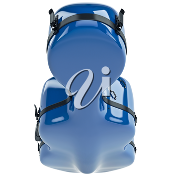 Plastic cello case with black metal latch, top view. 3D graphic