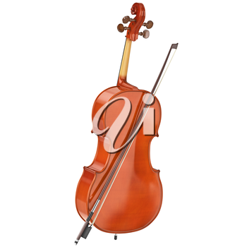 Brown cello classical music equipment. 3D graphic
