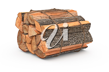 Bunch firewood stack dry chopped. 3D graphic