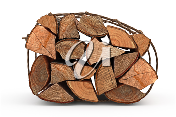 Firewood bunch stack dry chopped, side view. 3D graphic