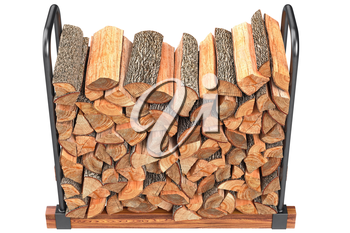 Chopped woodpile on metal rack, top view. 3D graphic