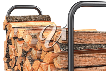 Firewood stack brown bark on black metal rack, close view. 3D graphic