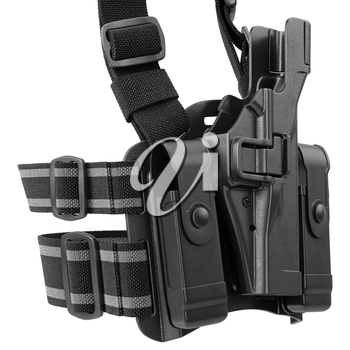 Holster protection plastic ammunition for police, close view. 3D graphic
