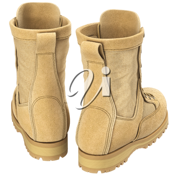 Military army boots for mens, back view. 3D graphic