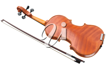 Violin wooden classical with bow, back view. 3D graphic