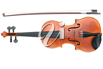 Violin classical musical equipment, front view. 3D graphic