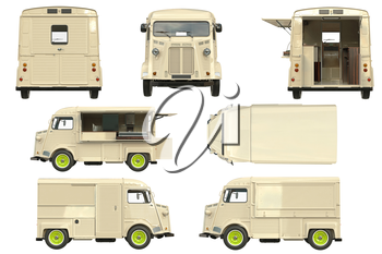 Food truck mobile beige cafe collection. 3D graphic